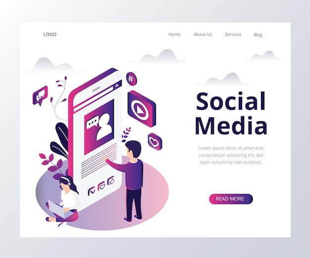 Concept d'art isométrique des médias sociaux. Vecteur Premium