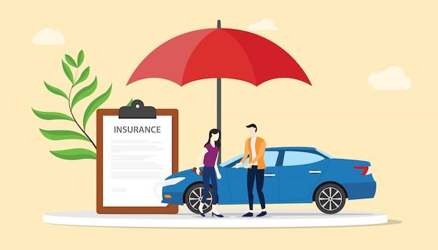 Concept d'assurance voiture avec des hommes et une femme avec des voitures et un parapluie rouge Vecteur Premium