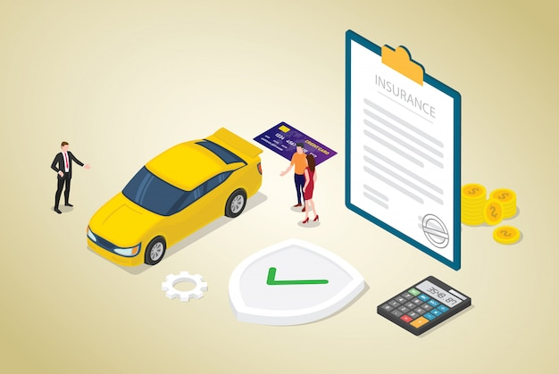 Concept d'assurance voiture avec papier voiture et contrat avec des gens de l'équipe et style plat isométrique moderne Vecteur Premium