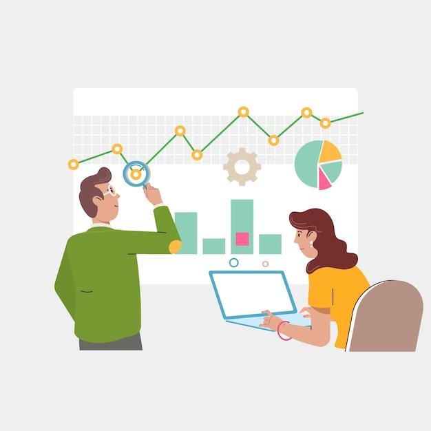 Concept d'audit et de marketing. Vecteur Premium