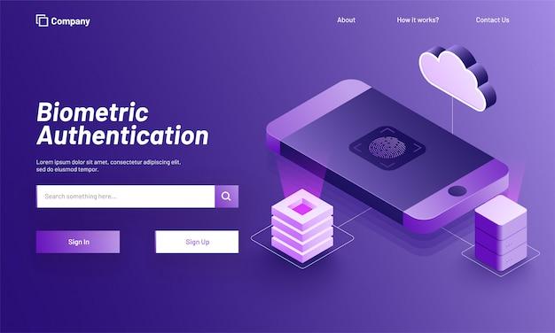 Concept d'authentification biométrique. Vecteur Premium