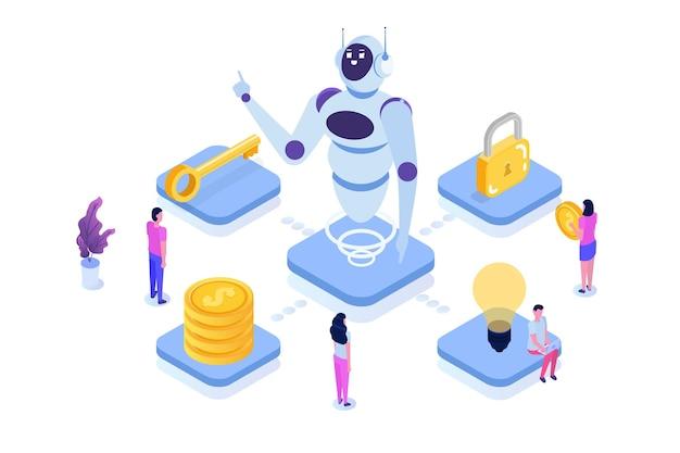 Concept D'automatisation Des Processus Robotiques, Rpa. Robot Ou Chat Bot Aide Les Gens Dans Différentes Tâches. Vecteur Premium
