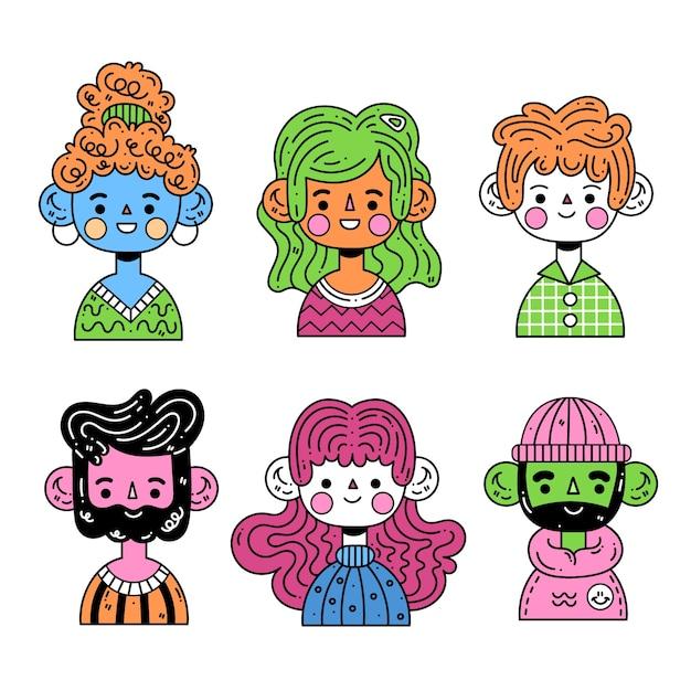 Concept D'avatars De Jeunes Vecteur gratuit