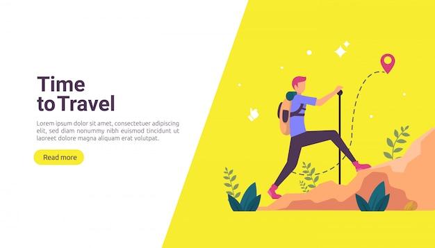 Concept d'aventure voyage routard. thème de vacances en plein air de la randonnée, l'escalade et le trekking Vecteur Premium