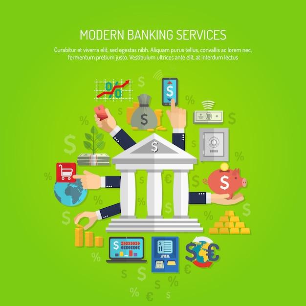Concept bancaire, plat Vecteur gratuit