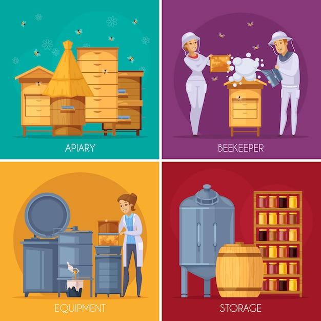 Concept de bande dessinée de production de miel apicole Vecteur gratuit