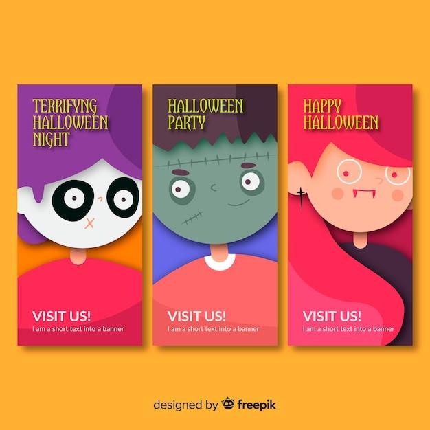Concept de bannière créative halloween heureux Vecteur gratuit