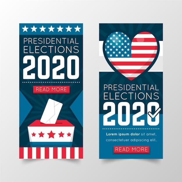 Concept De Bannière De L'élection Présidentielle Américaine 2020 Vecteur gratuit