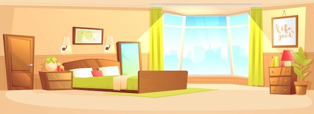 Concept de bannière intérieur intérieur de chambre à coucher Vecteur gratuit