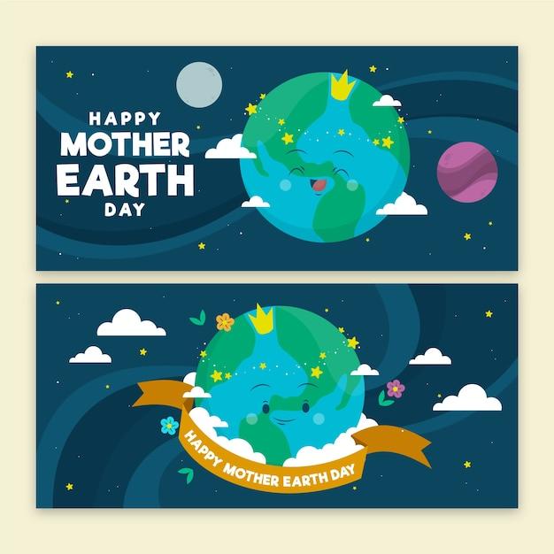 Concept De Bannière De Jour De La Terre Mère Dessiné à La Main Vecteur gratuit