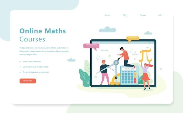 Concept De Bannière Web Cours De Mathématiques En Ligne. Matière Scolaire Vecteur Premium
