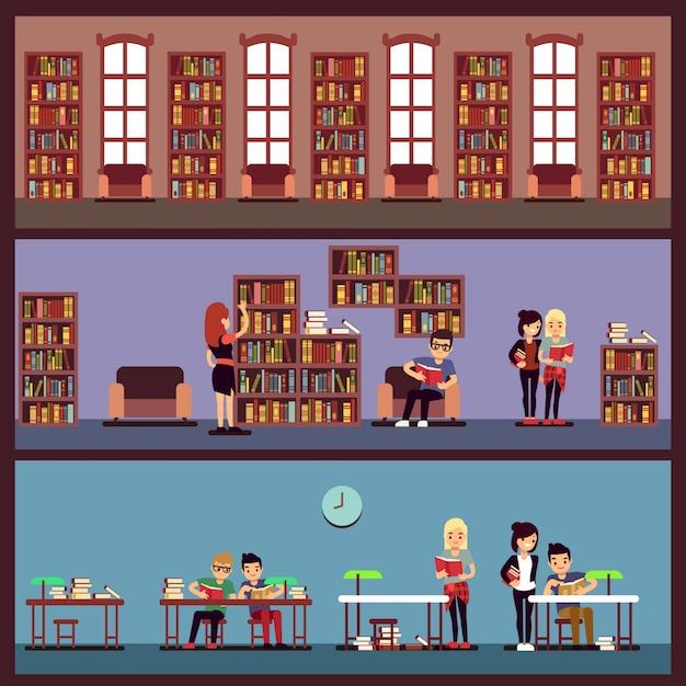 Concept de bannières de bibliothèques publiques avec différents étudiants, lire des livres. bibliothèque universitaire avec bibliothèque, école et étagère avec illustration de la littérature Vecteur Premium