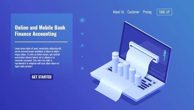 Concept de banque mobile en ligne, comptabilité financière, gestion d'entreprise et statistique Vecteur gratuit