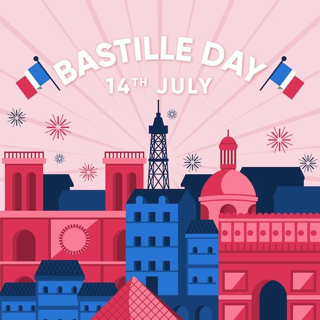 Concept De La Bastille Au Design Plat Vecteur gratuit