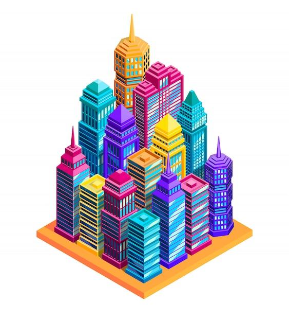 Concept de bâtiments de la ville Vecteur gratuit