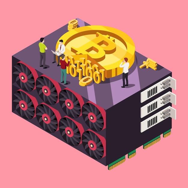 Concept De Bitcoin D'exploration De Gpu. Illustration Isométrique Vecteur Premium