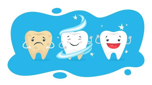 Concept De Blanchiment Des Dents. La Dent Devient Blanche Dans Une Clinique Dentaire. Concept De Protection Et De Traitement. Illustration Vecteur Premium
