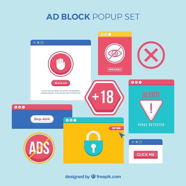 Concept de bloc d'annonce coloré avec un design plat Vecteur gratuit