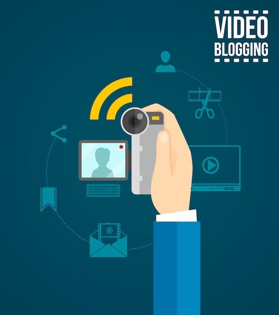 Concept de blogage vidéo Vecteur gratuit