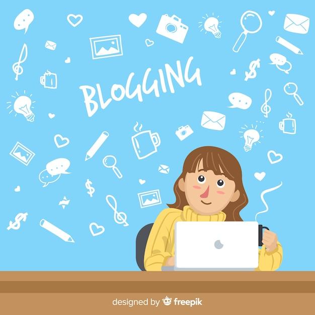 Concept de blogging doodle Vecteur gratuit