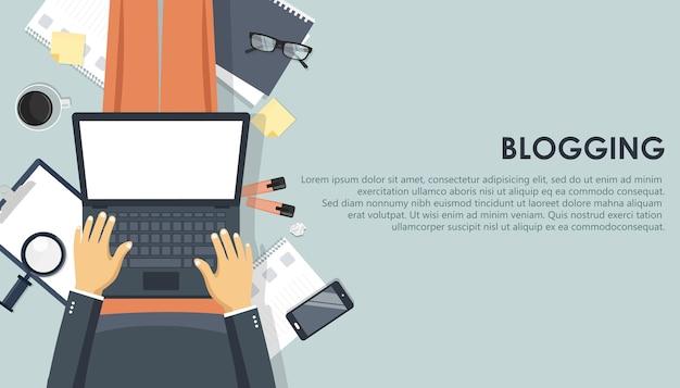 Concept De Blogging Et De Journalisme. écrivez Votre Histoire Vecteur Premium