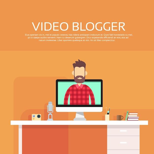 Concept de blogging vidéo sur ordinateur blogger homme Vecteur Premium