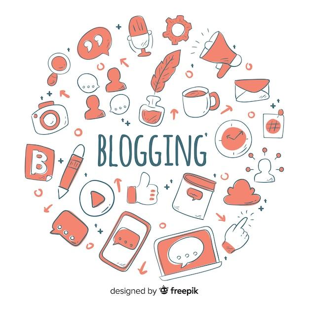Concept de blogging Vecteur gratuit