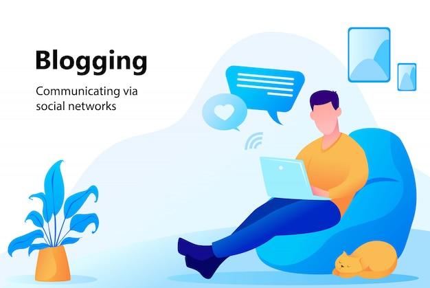 Concept De Blogging Vecteur Premium