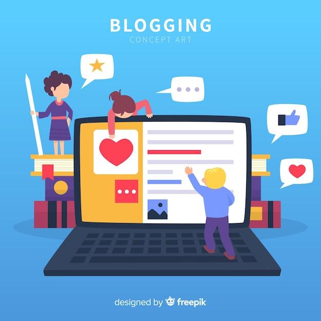 Concept de blogueur moderne avec un design plat Vecteur gratuit