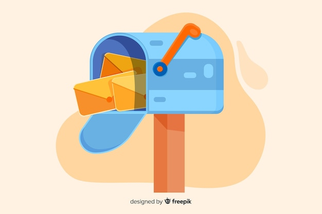 Concept de boîte aux lettres colorée pour la page de destination Vecteur gratuit