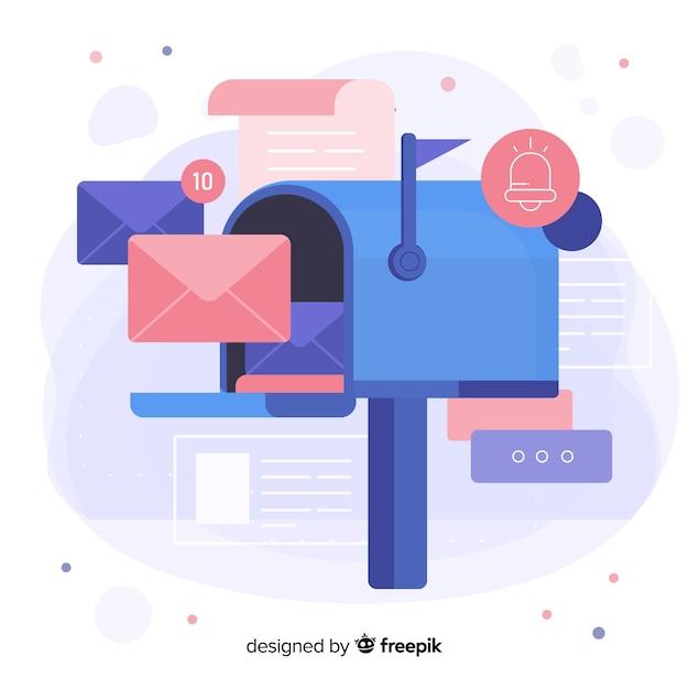 Concept de boîte aux lettres en gros plan pour les pages de destination Vecteur gratuit