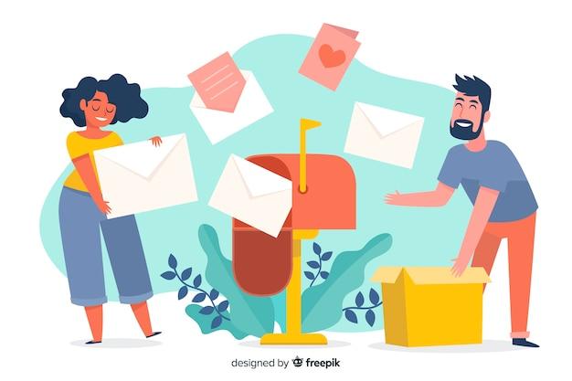 Concept de boîte aux lettres illustré pour la page de destination Vecteur gratuit