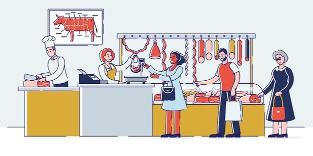 Concept De Boucherie. Les Gens Choisissent Et Achètent De La Viande Et Des Produits De Viande. Vecteur Premium