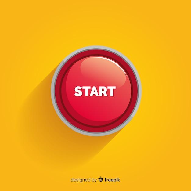 Concept de bouton de démarrage rouge Vecteur gratuit