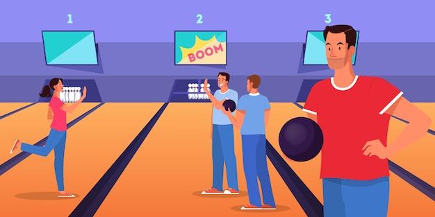 Concept De Bowling. Personnage De L'homme Jouant Au Bowling Avec Ballon Sur Ruelle. Les Gens Lancent Une Balle Pour épingler. Vecteur Premium