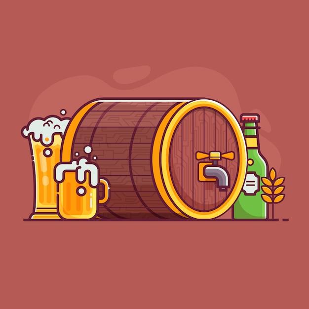 Concept De Brassage De Bière Festival Oktoberfest. Bouteille Et Verre Plein De Bière Artisanale Avec Mousse Vecteur Premium