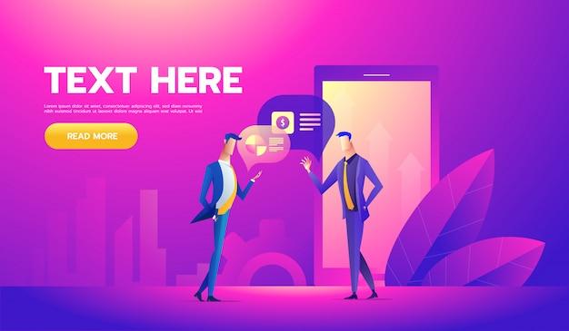 Concept de bureau de collaborateurs avec des personnages Vecteur Premium