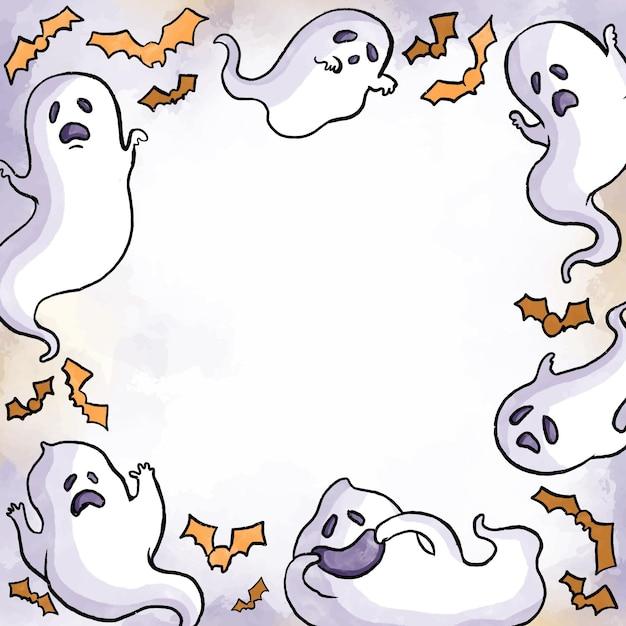 Concept De Cadre Aquarelle Halloween Vecteur gratuit
