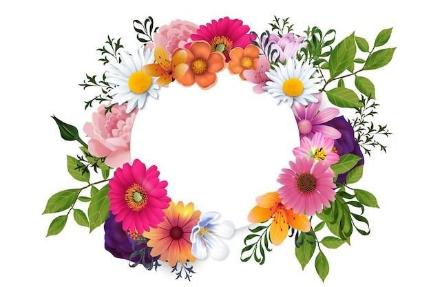 Concept De Cadre Floral Printemps Réaliste Vecteur Premium