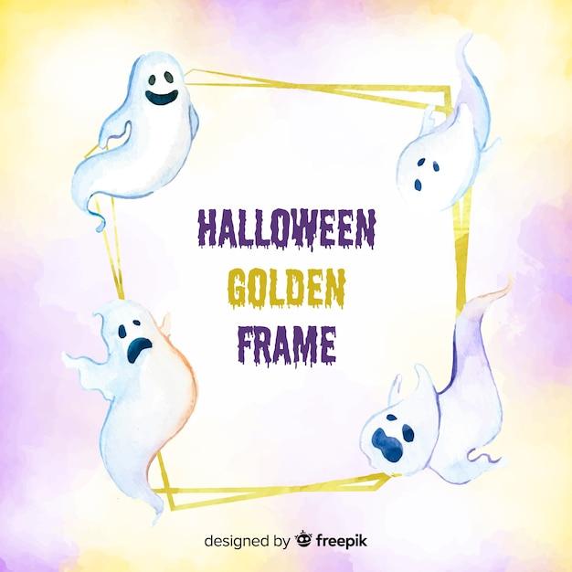 Concept de cadre halloween doré Vecteur gratuit