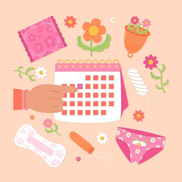 Concept De Calendrier Menstruel Avec éléments Girly Vecteur gratuit