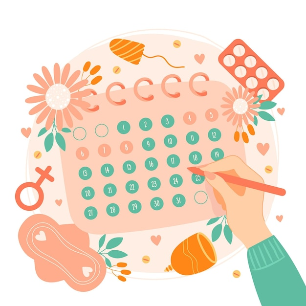 Concept De Calendrier Menstruel Vecteur gratuit