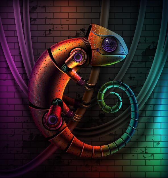 Concept De Caméléon Reptile Robot Multicolore Fictif Vecteur Premium