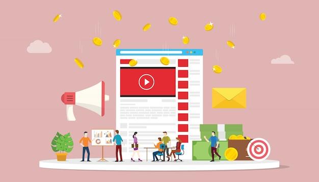 Concept De Campagne De Marketing Vidéo Avec Le Marketing D'entreprise De L'équipe De Médias Sociaux Vecteur Premium