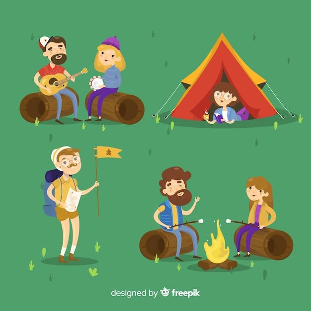Concept de camping avec les jeunes Vecteur gratuit