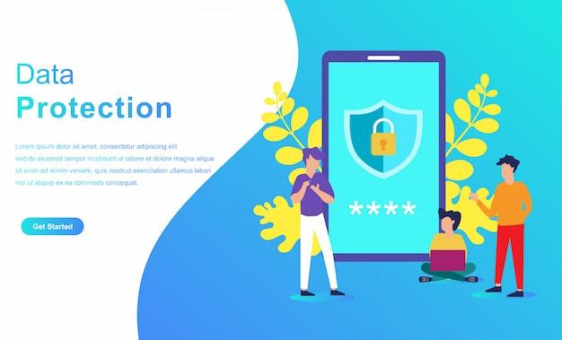 Concept de caractère du système de protection des données Vecteur Premium
