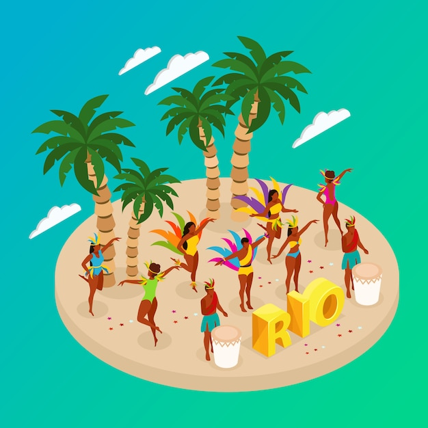 Concept De Carnaval Brésilien Avec Des Gens Qui Dansent Et La Plage Vecteur gratuit