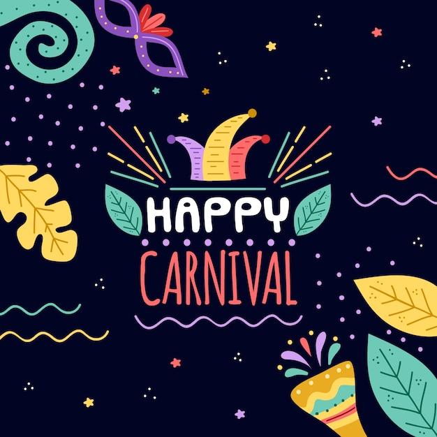 Concept De Carnaval Dessiné à La Main Avec Salutation Vecteur gratuit
