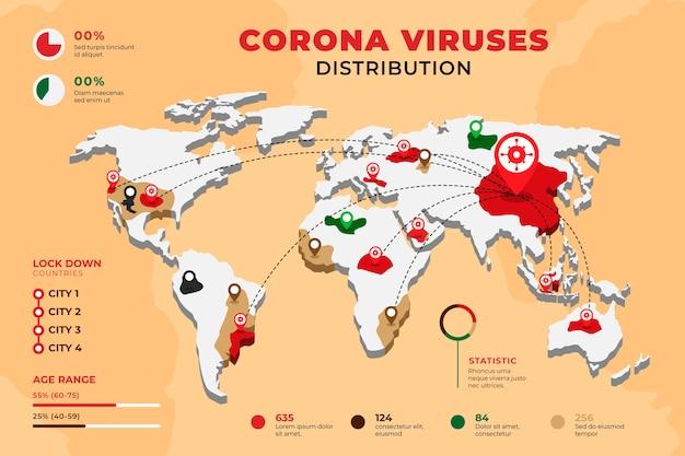 Concept De Carte Du Monde Coronavirus Vecteur gratuit