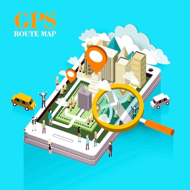Concept De Carte D'itinéraire Gps En Graphique Isométrique Vecteur Premium